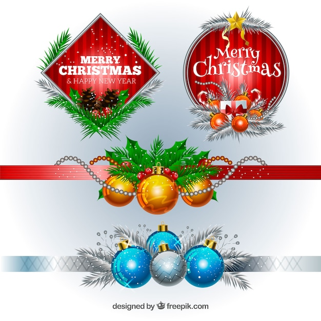 Christmas decoration pack vector free download for Christmas decoration packs