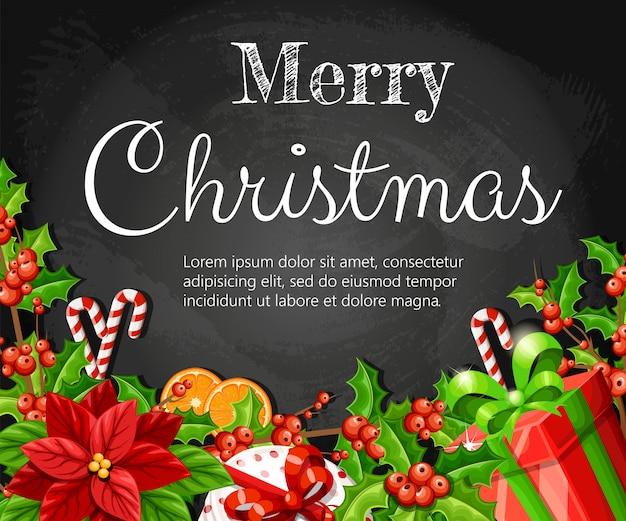 緑のクリスマス装飾赤いポインセチアヤドリギジンジャーブレッドオレンジスライス杖スティックとあなたのテキストのための場所で黒い背景に赤い弓のイラストが赤いボックス Premiumベクター