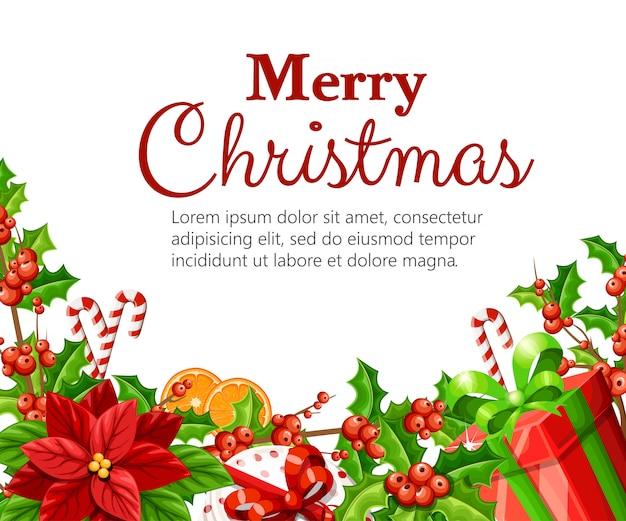 緑のクリスマス装飾赤いポインセチアヤドリギジンジャーブレッドオレンジスライス杖スティックとあなたのテキストのための場所に白い背景の赤い弓図の赤いボックス Premiumベクター