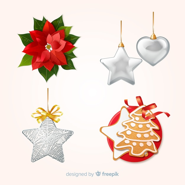 Christmas decoration set Free Vector