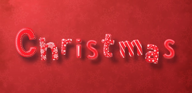 Christmas decoration text on red background Premium Vector