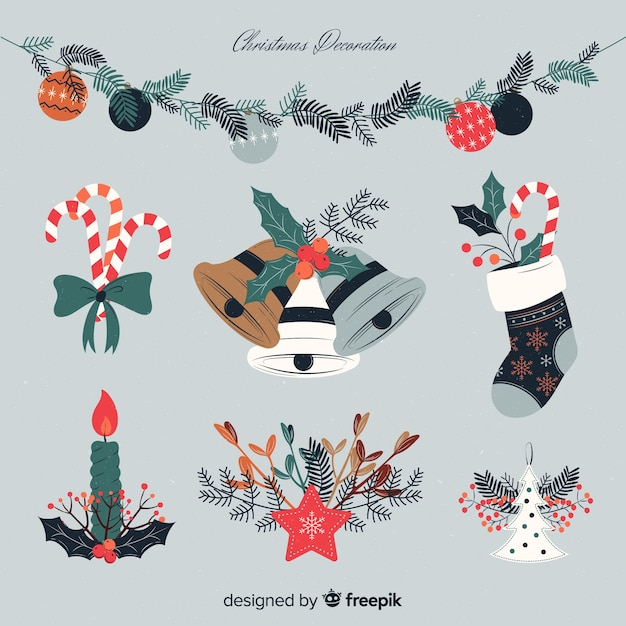 Christmas decoration in vintage style Free Vector