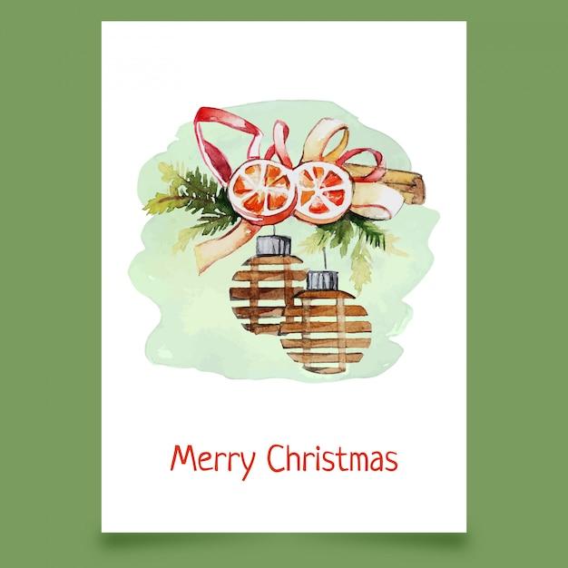 Christmas decoration with balls, orange slices and ribbon Premium Vector