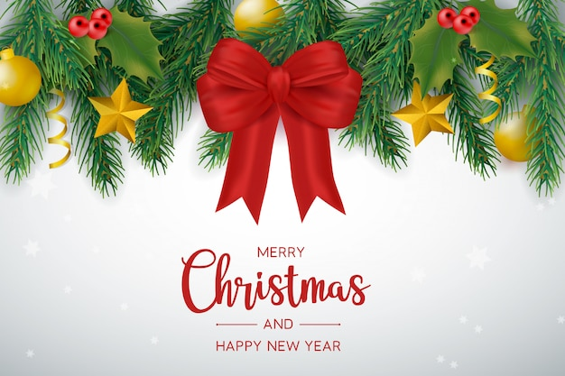 Christmas decoration with bows and balls Free Vector