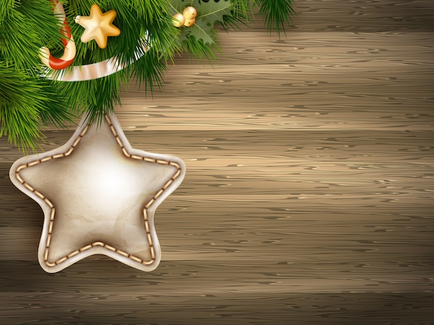 白い木の板にモミの枝でクリスマスの装飾。 Premiumベクター