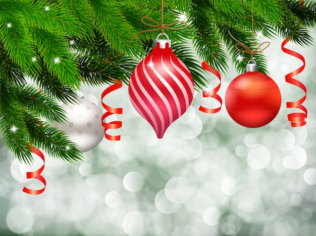 Christmas decoration with fir needle on particles background Free Vector