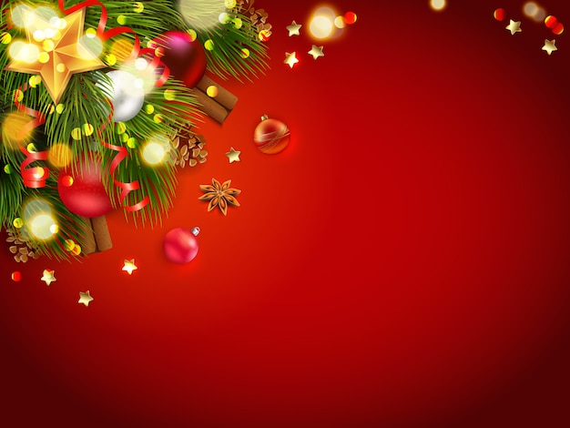 Christmas decoration with red background Free Vector