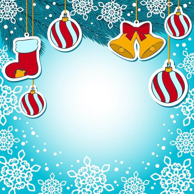 Christmas decorations on  blue background Premium Vector