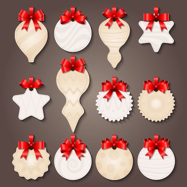 Christmas decorations labels with bows Free Vector
