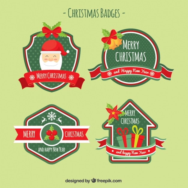 Christmas decorative badges in vintage style