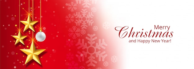 Christmas decorative stars banner red Free Vector