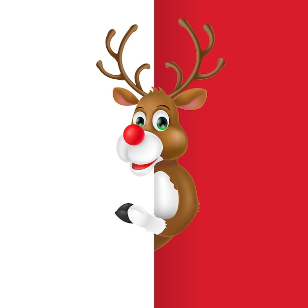 Christmas Deer Cartoon Character Free Vector
