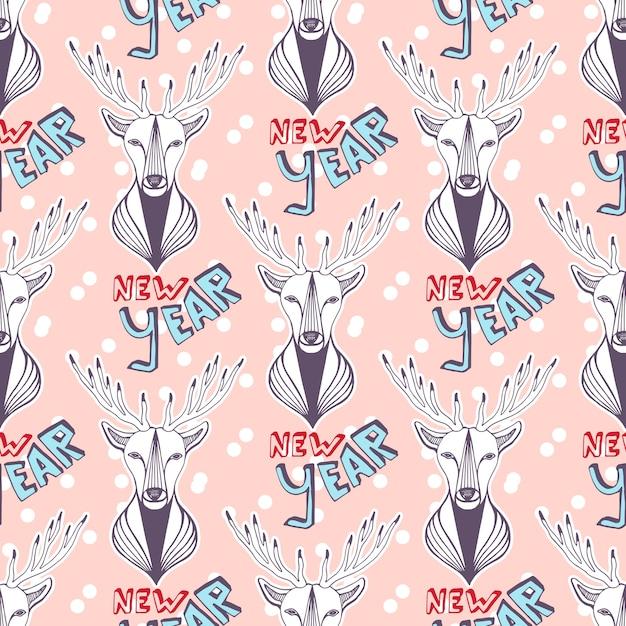 새 해 포장지에 대 한 크리스마스 사슴입니다. 원활한 벡터 패턴입니다. 프리미엄 벡터
