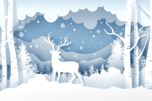 Christmas and deer in forest with snow in the winter season Premium Vector