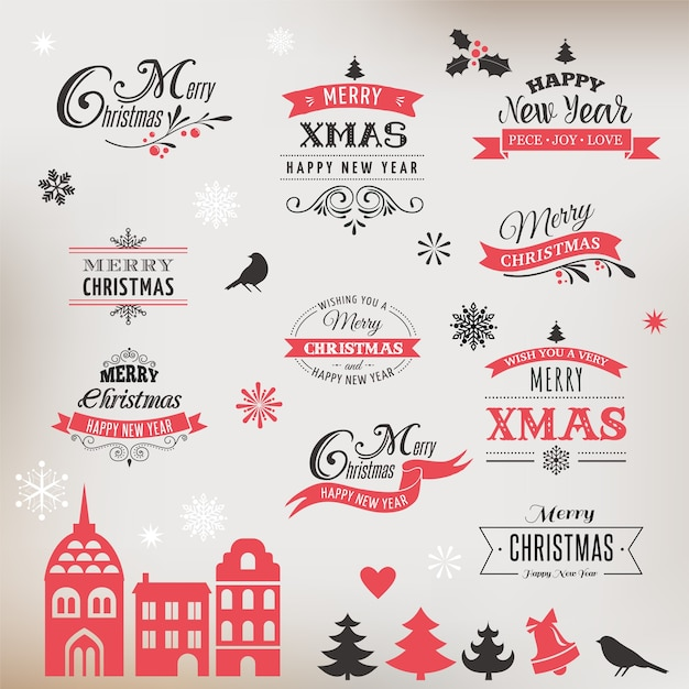 Christmas design collection, set of lettering and typographic elements, icons, vintage labels. . ribbons, xmas village and stickers Premium Vector