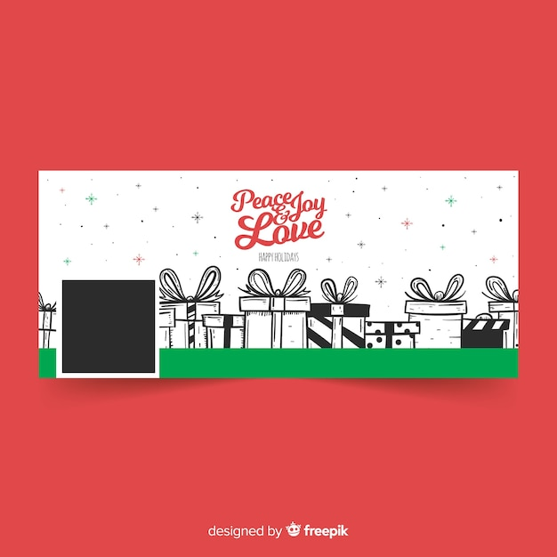 Christmas design facebook cover with presents Free Vector