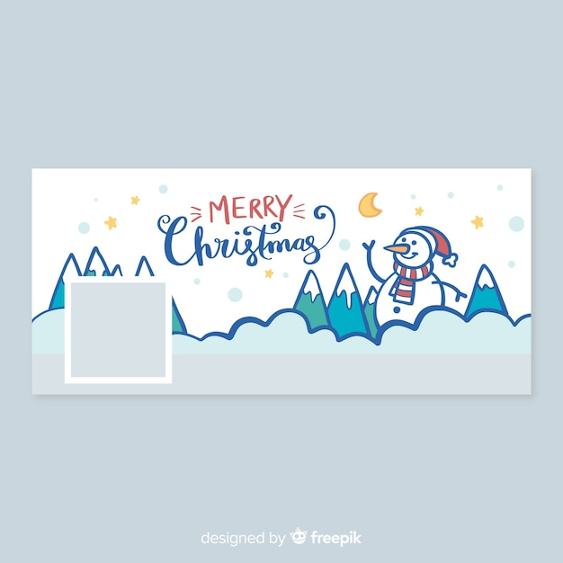 Christmas design facebook cover with snowman Free Vector