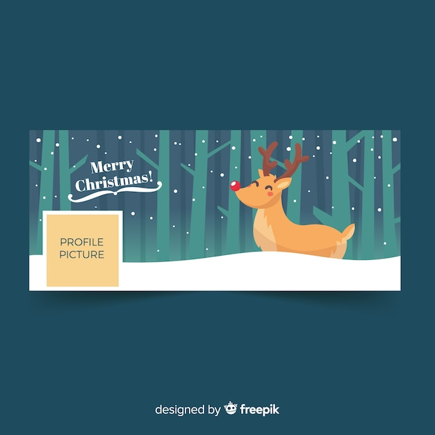 Christmas design facebook cover Free Vector