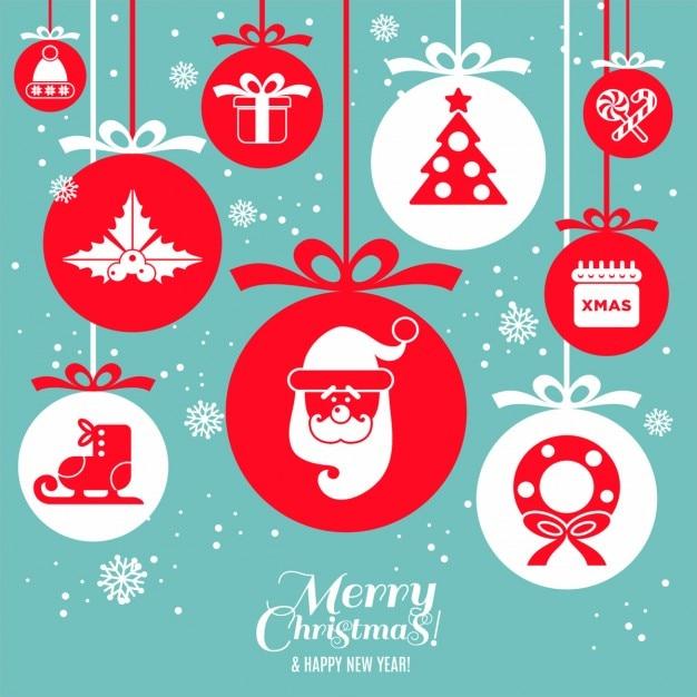 Christmas design icons set Free Vector