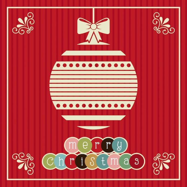 Christmas design over red background vector illustration Premium Vector