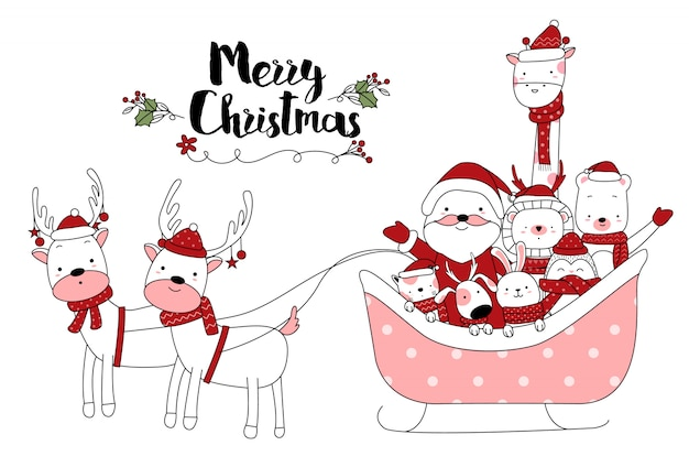 Christmas design with cute animal cartoon hand drawn style Premium Vector