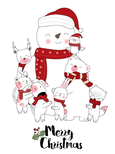 Christmas design with cute animal cartoon hand drawn style Premium Vector