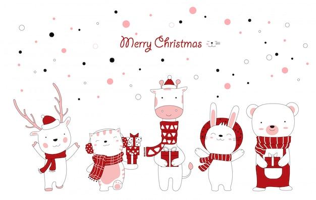 かわいい動物漫画とギフトボックスのクリスマスデザイン。手描き漫画のスタイル Premiumベクター
