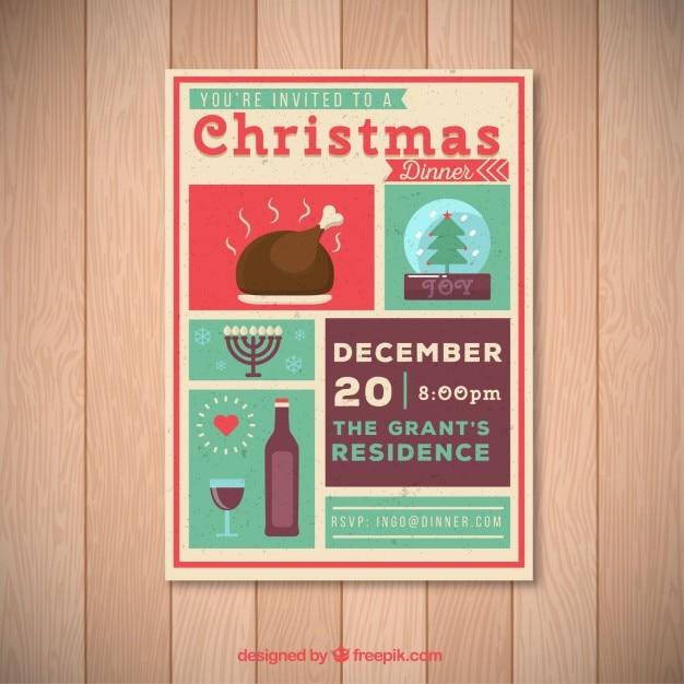 christmas dinner invitation poster vector premium download