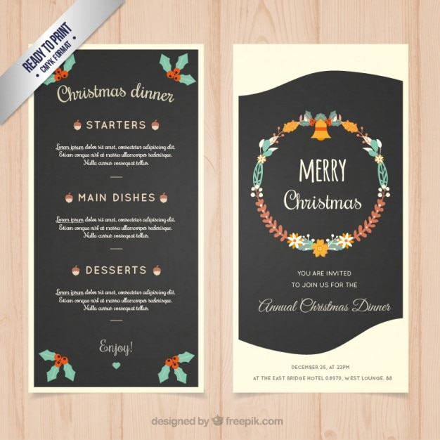 Great Christmas Dinner Menu Template Free Vector Intended For Free Xmas Menu Templates
