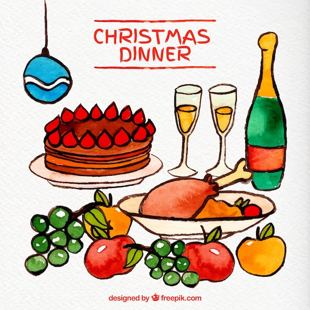 Christmas dinner in watercolor style Premium Vector