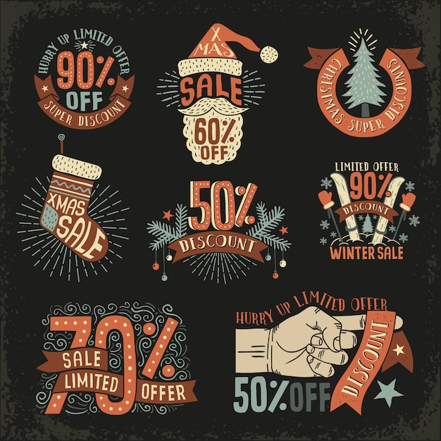 Christmas discount new year sale  vintage retro. Premium Vector