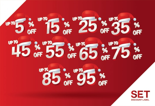 Christmas discount sale set percent Premium Vector