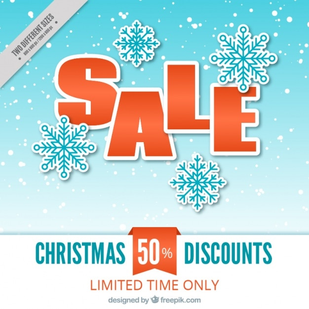 Christmas discount snowflakes background Free Vector