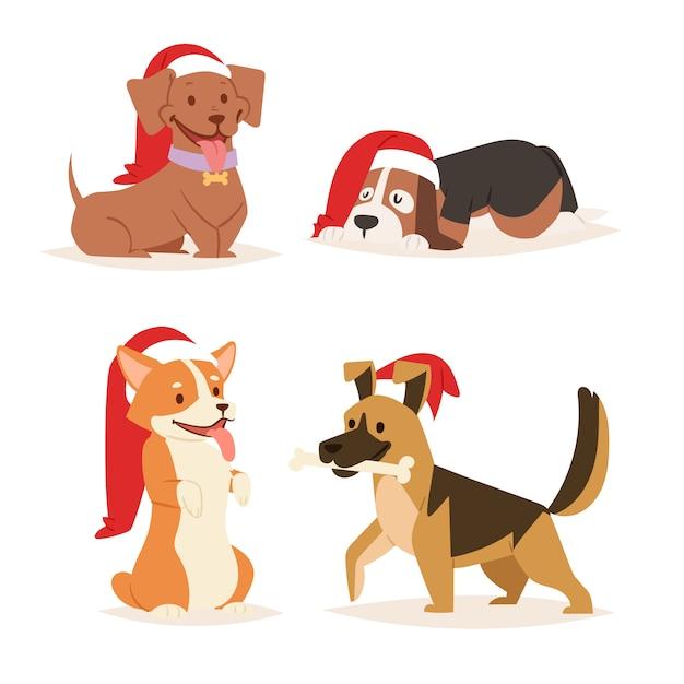 Рождество собака милый мультфильм щенок персонажи иллюстрации дома домашние питомцы собачка разные рождественские празднуют позы в санта-хэт Premium векторы