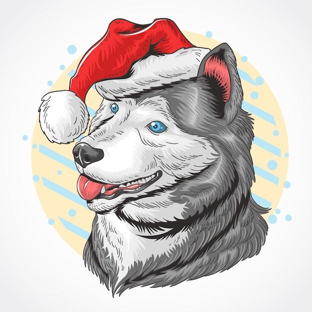 Christmas dog santa claus huskey Premium Vector