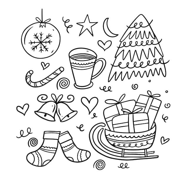 Рождественские элементы каракули. мультяшная рука рисовать окраску. изолированные на белом фоне. Premium векторы