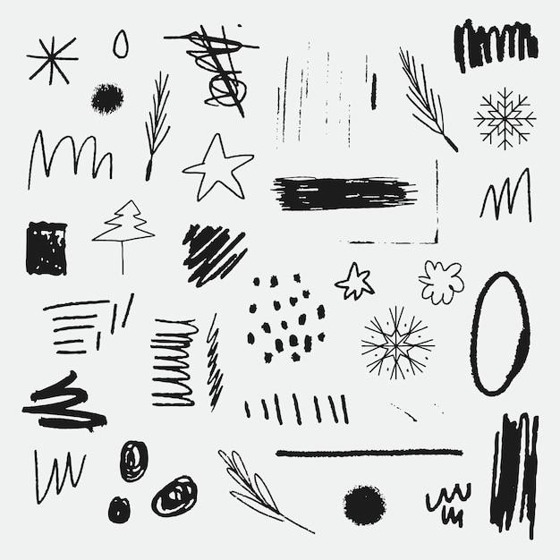 Insieme di elementi di doodle di natale Vettore gratuito