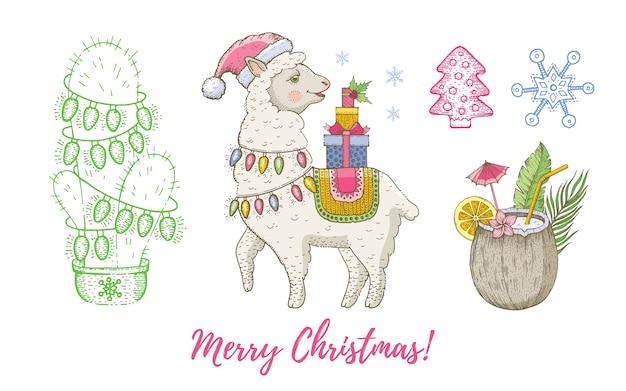 クリスマス落書きラマ動物、ココナッツ、ガーランドセットのサボテン。 Premiumベクター