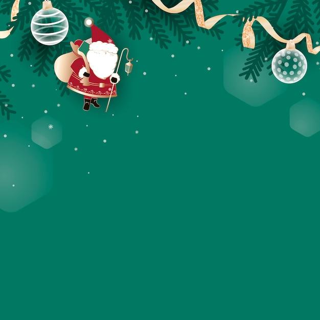緑の背景にクリスマス落書き 無料ベクター