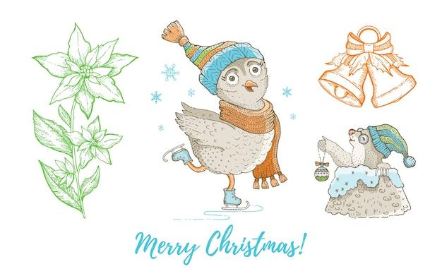 クリスマス落書きフクロウ鳥、ほくろ、ジングルベル、ポインセチアセット。かわいい水彩手描きコレクション。ポスターのグリーティングカードのデザイン要素。 Premiumベクター