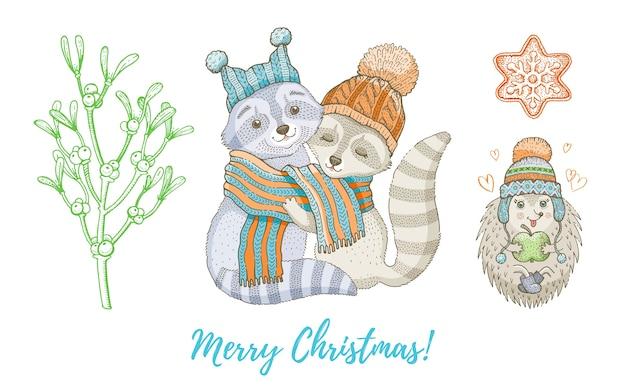 クリスマス落書きアライグマ動物、ヤドリギの枝セット。かわいい水彩手描きのポスター、グリーティングカード、デザイン要素のコレクション。 Premiumベクター