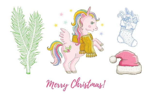 クリスマス落書きユニコーンポニー動物、サンタ帽子、ストッキング、モミセット。かわいい水彩手描きコレクション。 Premiumベクター