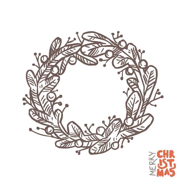 Рождественский венок каракули из еловых или сосновых ветвей. эскиз рисованной иллюстрации Premium векторы