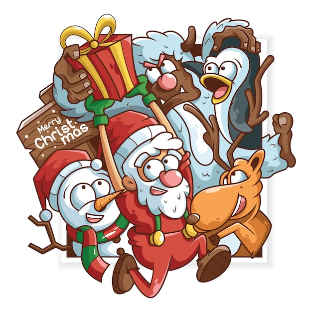 Christmas doodle Premium Vector