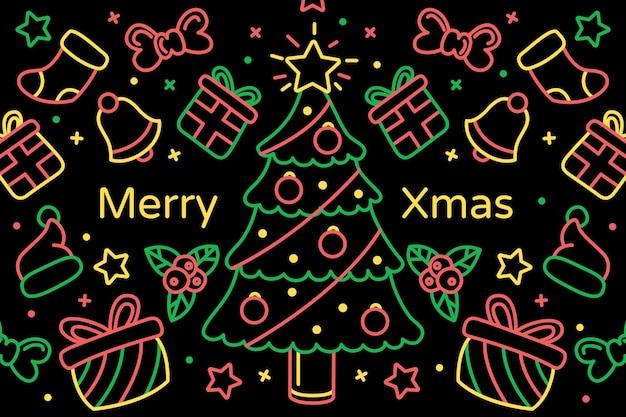 Рождественские каракули фон в стиле структуры Бесплатные векторы