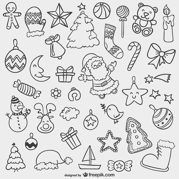 Christmas doodles pack | Free Vector