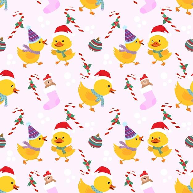 クリスマスアヒルシームレスパターン。 Premiumベクター