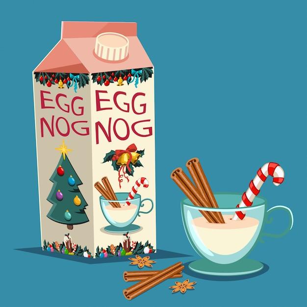 Рождественский eggnog в картонной упаковке с корицей, конфета и стакан с напитком. векторный набор традиционных праздничных угощений изолированных Premium векторы