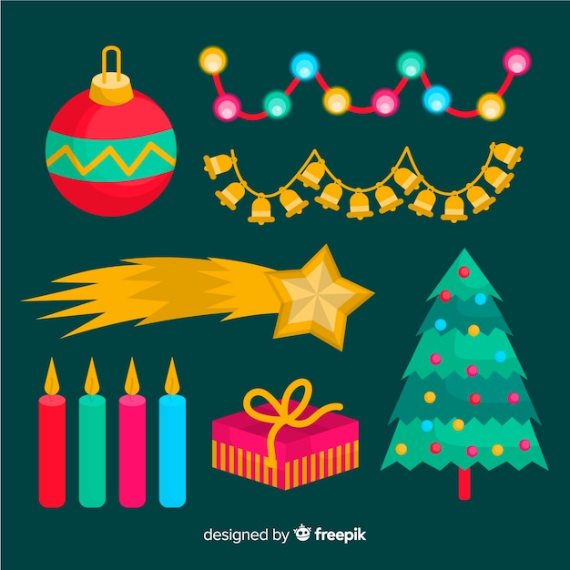Christmas element collection in flat design Free Vector