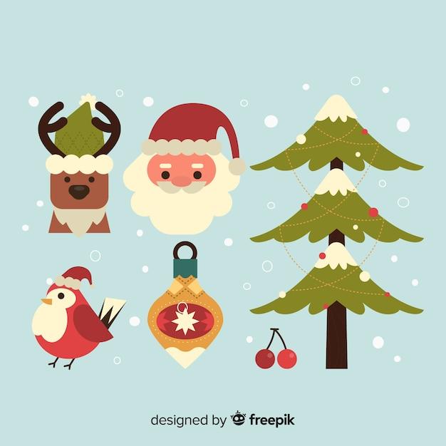 Рождественская коллекция элементов в плоском дизайне Бесплатные векторы